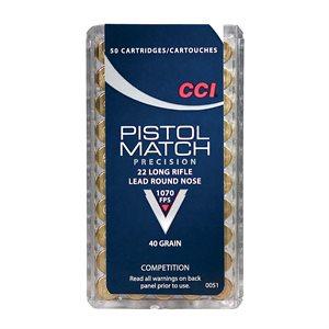 CCI PISTOL MATCH 22LR 40 GRAIN 1070 FPS