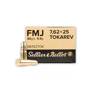 SELLIER & BELLOT HANDGUN AMMUNITION FMJ 85GR. 7.62X25