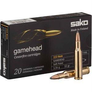 SAKO GAMEHEAD 222 REM SOFT POINT 55GR