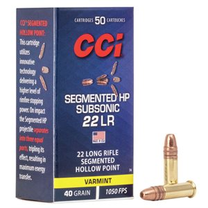 CCI 22LONG RIFLE SEGMENTED HOLLOW POINT 1050 FPS 40GR